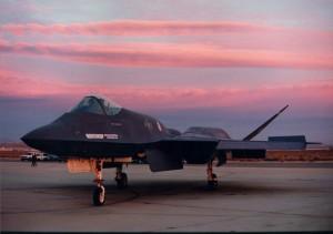 YF-23 runway sunset
